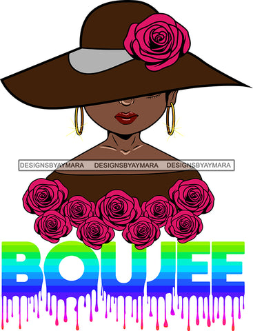 Afro Woman Elegant Wearing Hat Classy Boujee Hip Hop Life Style Flowers Black Girl Magic Hipster Girl Short Hair Style SVG Cutting Files For Silhouette Cricut More