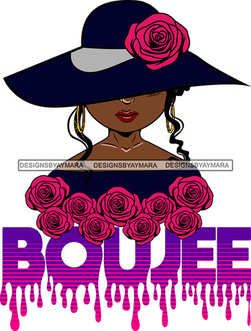 Afro Woman Elegant Wearing Hat Classy Boujee Hip Hop Life Style Flowers Black Girl Magic Hipster Girl Tendrils Hair Style SVG Cutting Files For Silhouette Cricut More
