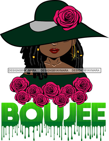 Afro Woman Elegant Wearing Hat Classy Boujee Hip Hop Life Style Flowers Black Girl Magic Hipster Girl Dreadlocks Hair Style SVG Cutting Files For Silhouette Cricut More