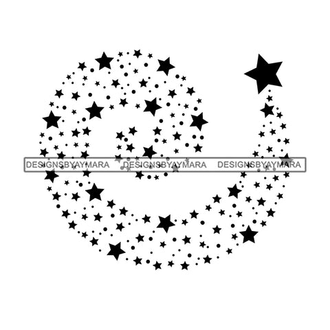 Shooting Stars Cosmos Astrology Asteroids Glitter Universe Galaxy Tail Night Spiral B/W SVG JPG PNG Vector Clipart Cricut Silhouette Cut Cutting
