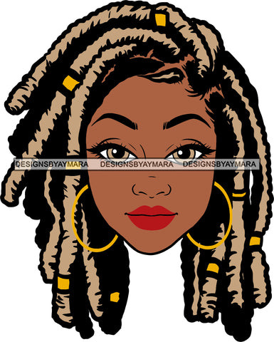Afro Beautiful Woman Black Girl Magic Hoop Earrings Melanin Nubian Blonde Dreadlocks Hairstyle SVG PNG JPG Cutting Files Silhouette Cricut More
