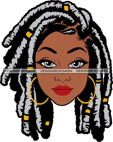 Afro Beautiful Woman Black Girl Magic Hoop Earrings Melanin Nubian Grey Dreadlocks Hairstyle SVG PNG JPG Cutting Files Silhouette Cricut More