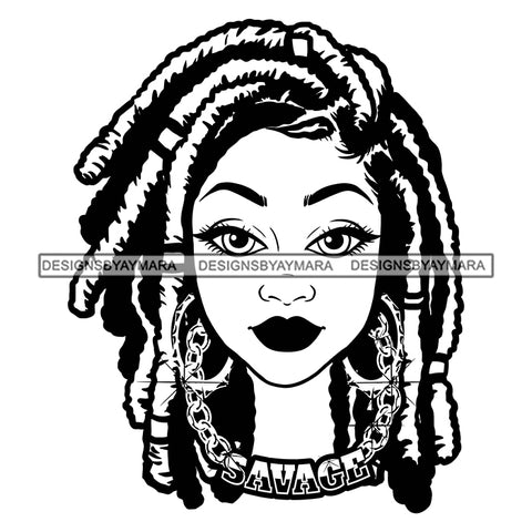 Afro Attractive Cute Urban Girl Savage Gold Chain Bamboo Hoop Earrings Dreadlocks Hair Style SVG Cutting Files For Silhouette Cricut