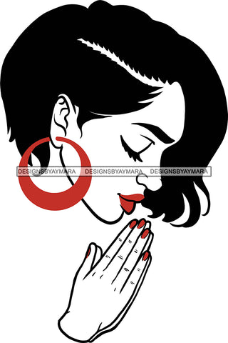Afro Girl Black Woman  Praying Matching Lipstick  Hoop Earrings Short Hair Style SVG Cutting Files For Silhouette Cricut More