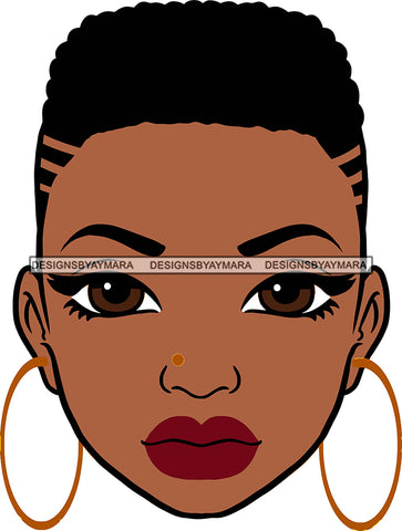 Afro Girl Babe Sexy Black Woman Bamboo Hoop Earrings Sexy Lips Short Hair Style SVG Cutting Files For Silhouette Cricut More
