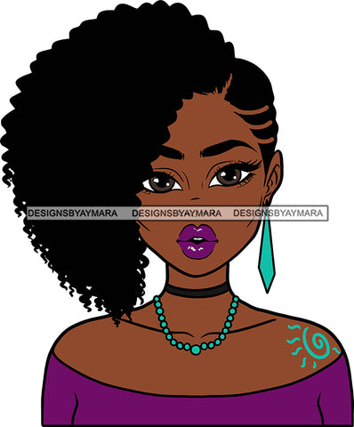Afro Girl Babe Sexy Black Woman Earrings Sexy Lips Afro Cornrows  Hair Style SVG Cutting Files For Silhouette Cricut More