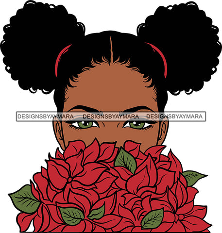 Afro Girl Babe Sexy Black Woman Flowers Bamboo Hoop Earrings Sexy Lips Pigtails Hair Style SVG Cutting Files For Silhouette Cricut More