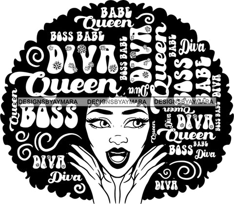 Afro Strong Woman Hair Boss Queen Diva Life Quotes Afro B/W SVG Cutting Files For Silhouette Cricut More