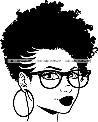 Afro Girl Babe Hoop Earrings Sexy Glasses Lips Under Cut Lines  Puffy Hair Style B/W SVG Cutting Files For Silhouette Cricut
