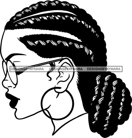 Afro Girl Babe Hoop Earrings Sexy Glasses Lips Cornrow Braided Bun Hair Style B/W SVG Cutting Files For Silhouette Cricut