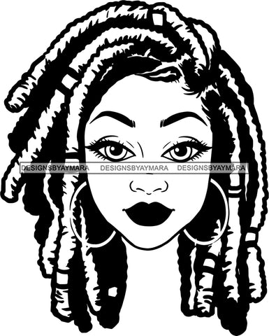 Afro Girl Babe Hoop Earrings Sexy Lips Dreadlocks Hair Style B/W SVG Cutting Files For Silhouette Cricut