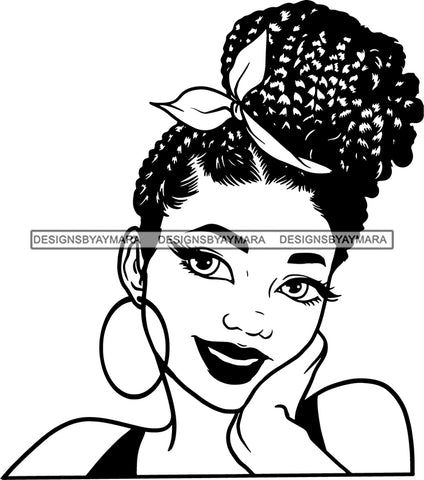 Afro Girl Babe Hoop Earrings Sexy Lips Braided Up Do Hair Style B/W SVG Cutting Files For Silhouette Cricut
