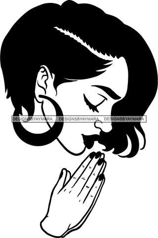 Afro Girl Babe Praying Earrings Lips Short Hair Style B/W SVG Cutting Files For Silhouette Cricut