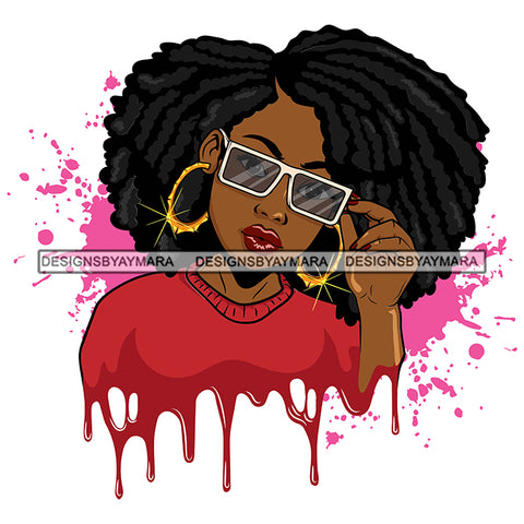 Afro Woman Pink Splatter Background Dripping Red Top Bamboo Hoop Earrings Sunglasses Afro Hairstyle SVG Cutting Files For Silhouette Cricut