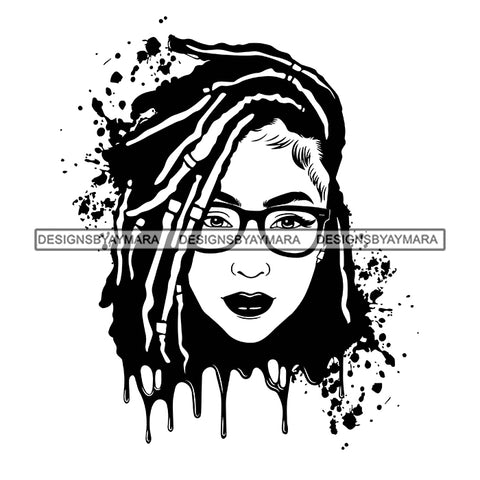 Afro Woman Splatter Background Dripping Bamboo Hoop Earrings Glasses Dreadlocks Hairstyle B/W SVG Cutting Files For Silhouette Cricut