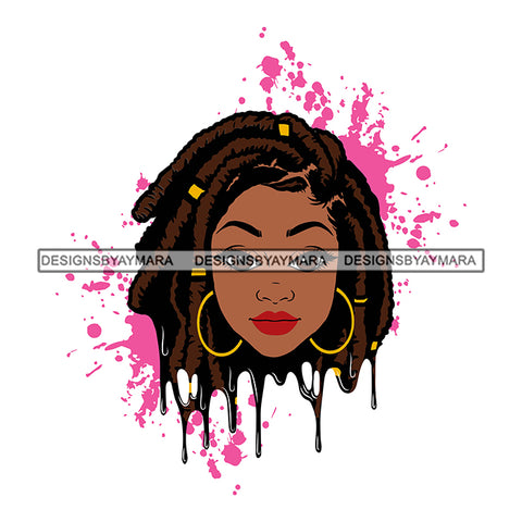 Afro Woman Pink Splatter Background Dripping Bamboo Hoop Earrings Dreadlocks Hairstyle B/W SVG Cutting Files For Silhouette Cricut