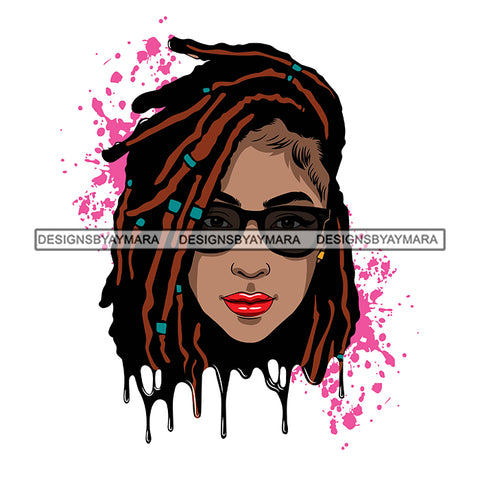 Afro Woman Pink Splatter Background Dripping Bamboo Hoop Earrings Sunglasses Dreadlocks Hairstyle SVG Cutting Files For Silhouette Cricut