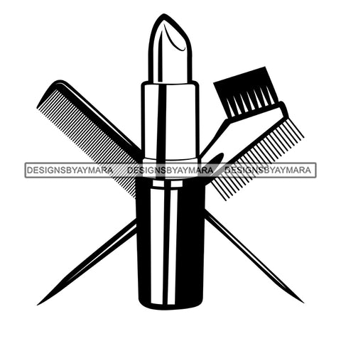 Beauty Hair Salon Tool Kit Set Logo Combs Brushes Lipstick Make Up Accessories B/W SVG JPG PNG Vector Clipart Cricut Silhouette Cut Cutting