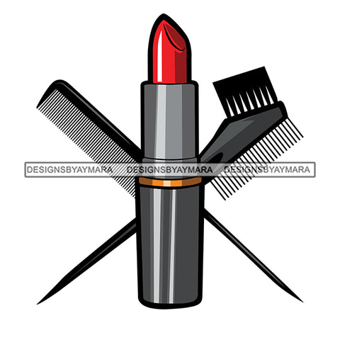Beauty Hair Salon Tool Kit Set Logo Combs Brushes Lipstick Make Up Accessories SVG JPG PNG Vector Clipart Cricut Silhouette Cut Cutting
