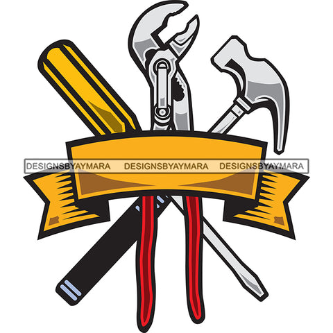 Tools 4 Red Wrench Black Silver Hammer Gold Banner Logo SVG JPG PNG Vector Clipart Cricut Silhouette Cut Cutting