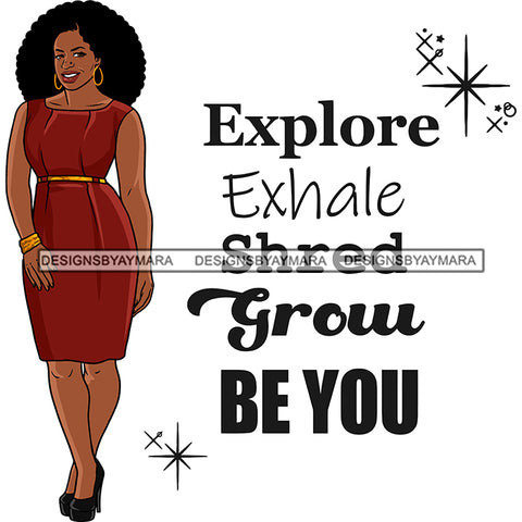 Afro Woman Model Life Quote Thick Sexy Red Dress Diva Nubian Black Girl Magic Afro Hair SVG JPG PNG Cutting Files For Silhouette Cricut