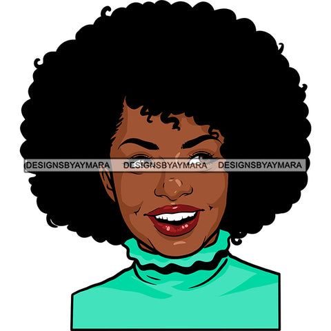 Afro Attractive Lady Smiling Portrait Nubian Melanin Afro Hair Style SVG PNG JPG Cutting Files For Silhouette Cricut More