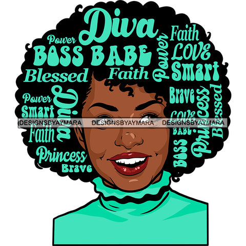 Afro Attractive Lady Smiling Aqua Hair Quotes Portrait Nubian Melanin Afro Hair Style SVG PNG JPG Cutting Files For Silhouette Cricut More