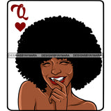 Queen Of Hearts Card Casino Poker Game Afro Woman Nude Model Black Magic Afro Hair SVG JPG PNG Cutting Files For Silhouette Cricut More
