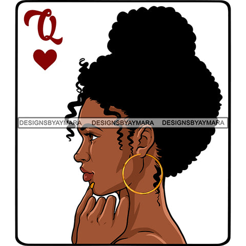 Queen Of Hearts Card Casino Poker Game Afro Woman Nude Side View Model Black Magic Up Do Hair SVG JPG PNG Cutting Files For Silhouette Cricut More