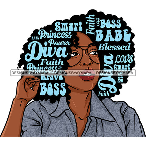Afro Attractive Lady Blue Hair Quotes Glasses Portrait Nubian Melanin Afro Hair Style SVG PNG JPG Cutting Files For Silhouette Cricut More