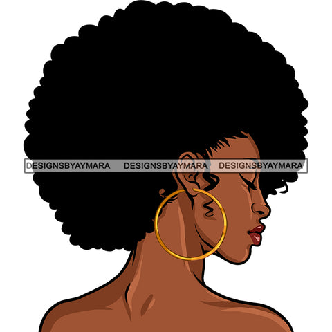 Afro Attractive Lady Side View Portrait Nude Nubian Melanin Afro Hair Style SVG PNG JPG Cutting Files For Silhouette Cricut More