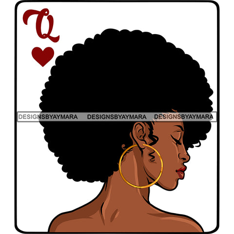 Queen Of Hearts Card Casino Poker Game Afro Woman Nude Side View Model Black Magic Afro Hair SVG JPG PNG Cutting Files For Silhouette Cricut More