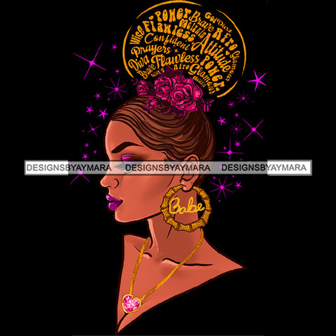 Flawless Diva Afro Black Woman Flowers Words Babe Gold Hoops Earrings  JPG PNG  Clipart Cricut Silhouette Cut Cutting
