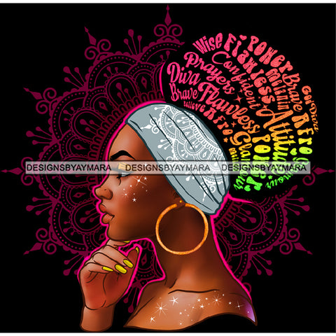 Prayers Wise Diva Afro Black Woman  Words Headwrap Gold Hoops Earrings  JPG PNG  Clipart Cricut Silhouette Cut Cutting