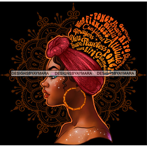 Prayers Wise Diva Afro Black Woman  Words Mauve Headwrap Gold Hoops Earrings  JPG PNG  Clipart Cricut Silhouette Cut Cutting