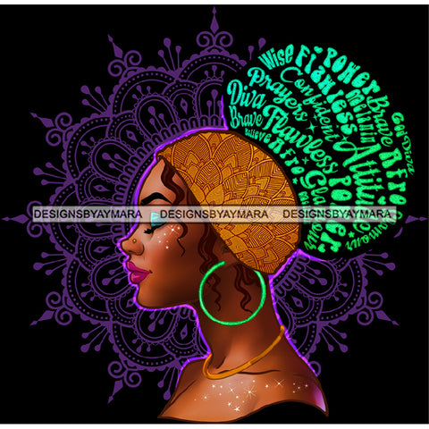 Flawless Prayers Wise Diva Afro Black Woman  Words Gold Headwrap Green Hoops Earrings  JPG PNG  Clipart Cricut Silhouette Cut Cutting