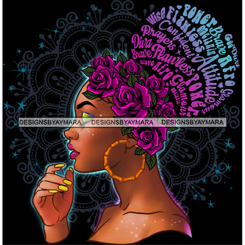 Flawless Wise Diva Afro Black Woman Purple Flowers Words Gold Headwrap Gold Hoops Earrings  JPG PNG  Clipart Cricut Silhouette Cut Cutting