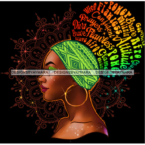 Flawless Wise Power Diva Afro Black Woman  Words Green Headwrap Gold Hoops Earrings  JPG PNG  Clipart Cricut Silhouette Cut Cutting