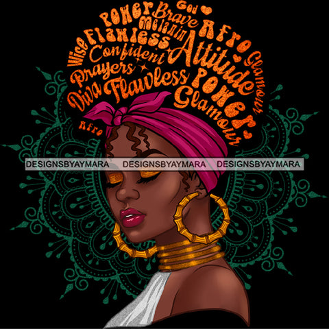 Flawless Powerful Black Afro Woman Word Hair Headwrap Hoop Earrings JPG PNG  Clipart Cricut Silhouette Cut Cutting