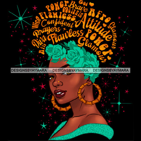 Flawless Powerful Black Afro Woman Gold Word Hair Flower Hoop Headwrap  Earrings JPG PNG  Clipart Cricut Silhouette Cut Cutting