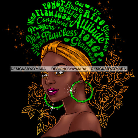Flawless Powerful Black Afro Woman Green Word Hair Headwrap  Green Hoop Earrings JPG PNG  Clipart Cricut Silhouette Cut Cutting