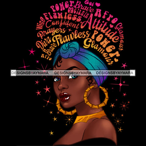 Flawless Powerful Black Afro Woman Pink Gold Word Hair Blue Headwrap Earrings JPG PNG  Clipart Cricut Silhouette Cut Cutting