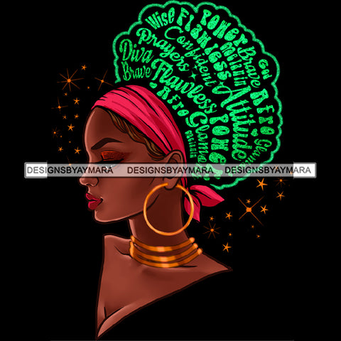 Flawless Powerful Black Afro Woman Green Word Hair Pink Headwrap Gold Earrings JPG PNG  Clipart Cricut Silhouette Cut Cutting