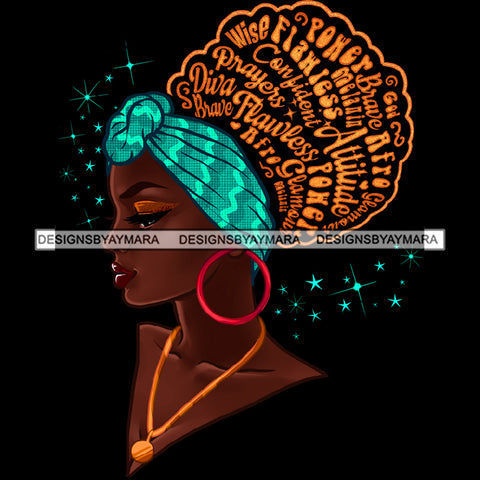 Flawless Wise Power Diva Afro Black Woman  Words Blue Headwrap Red Hoops Earrings  JPG PNG  Clipart Cricut Silhouette Cut Cutting