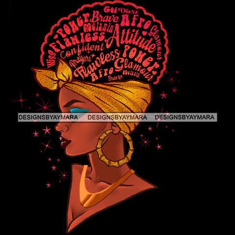 Flawless Diva Afro Black Woman Gold Headwrap Pink Words Gold Hoops Earrings  JPG PNG  Clipart Cricut Silhouette Cut Cutting
