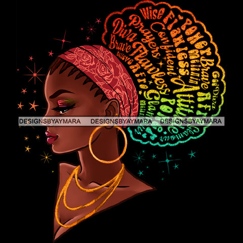 Flawless Diva Afro Black Woman Pink Headwrap Words Gold Hoops Earrings Braids JPG PNG  Clipart Cricut Silhouette Cut Cutting