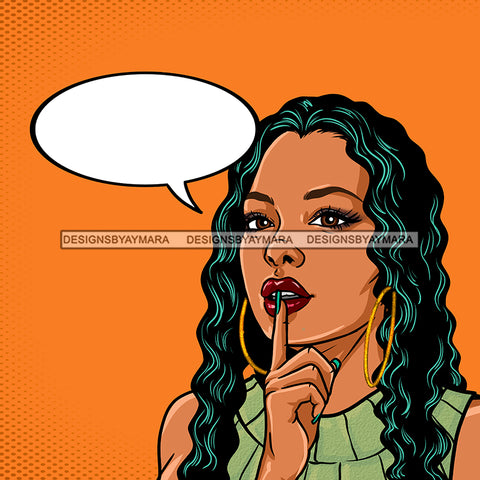 Black Woman Long Hair In Green Conversation Bubble Orange Background JPG PNG  Clipart Cricut Silhouette Cut Cutting
