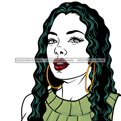 Black Woman Long Hair In Green  JPG PNG  Clipart Cricut Silhouette Cut Cutting