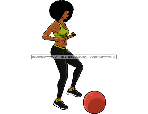 Black Woman Big Afro Kicking Ball  JPG PNG  Clipart Cricut Silhouette Cut Cutting