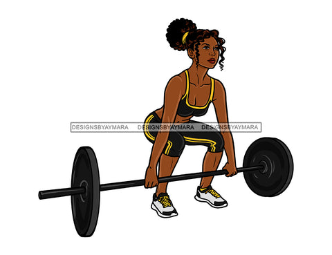 Black Woman In Workout Outfit Lifting Weights   JPG PNG  Clipart Cricut Silhouette Cut Cutting